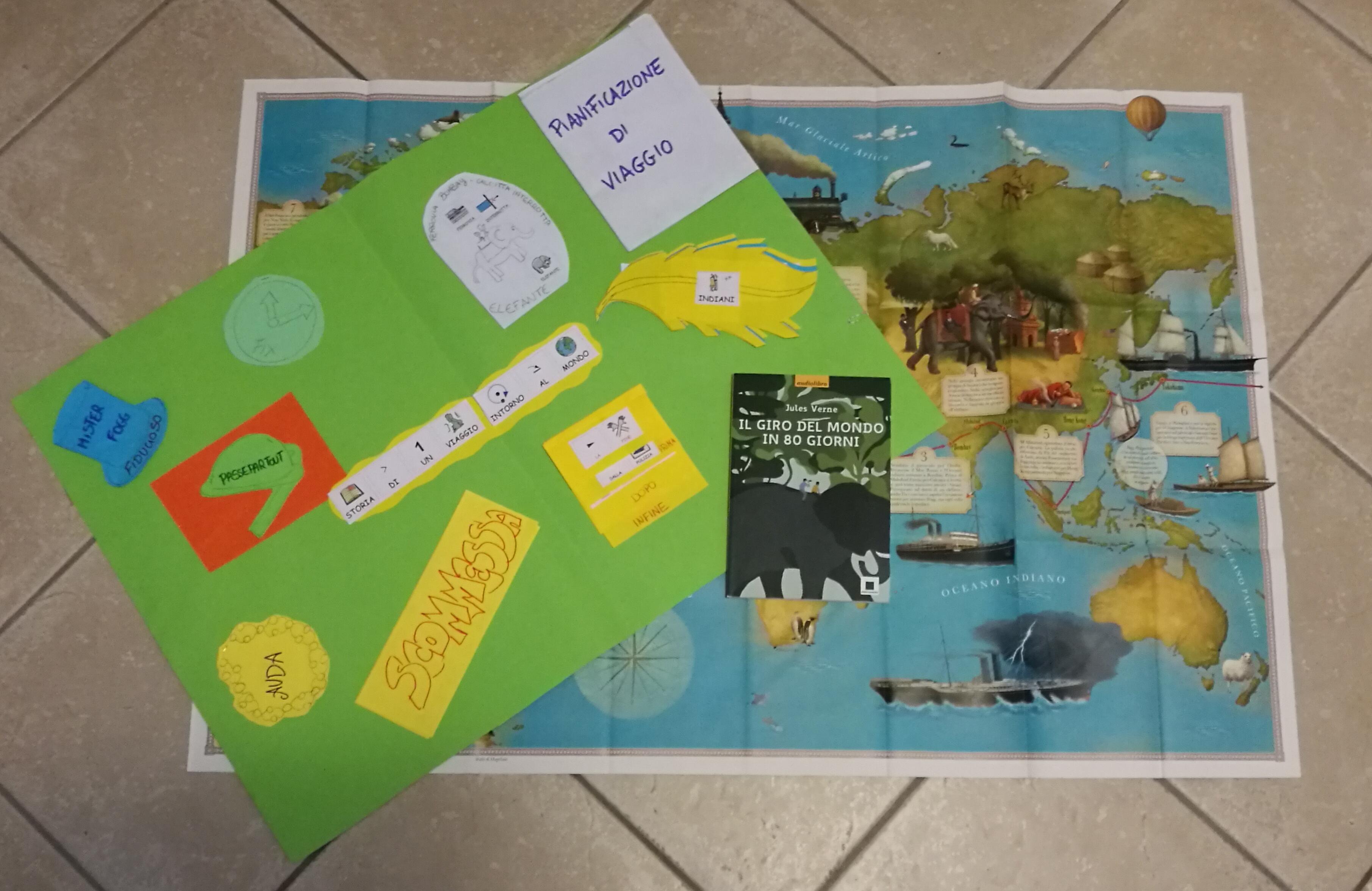Jules verne Il giro del mondo in 80 giorni scuola lapbook libro ad alta leggibilità